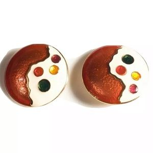 Vintage Gold And Multicolor Stones Clip-On Earring